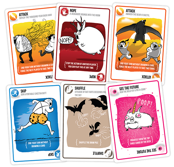 Exploding Kittens Action Card Samples