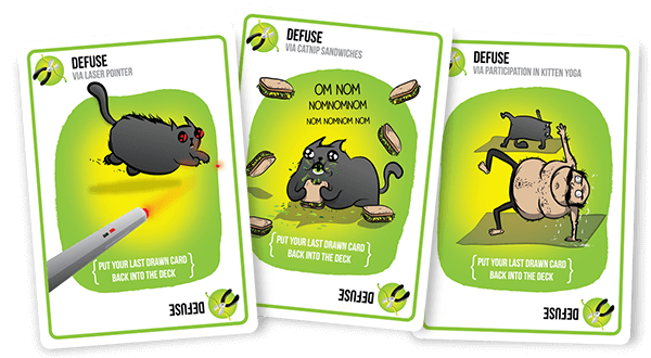 Exploding Kittens Defuse Card Samples